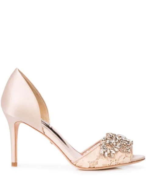 Badgley Mischka Crystal Embellished Pumps In Neutrals