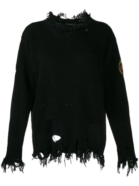 Etro Distressed Logo Patch Jumper In Black
