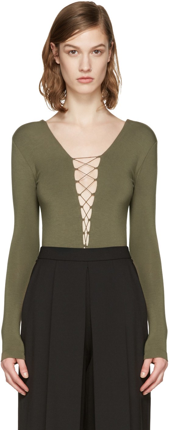 Alexander Wang T Micro Modal Spandex Lace Up Long Sleeve Bodysuit In Green. In Military