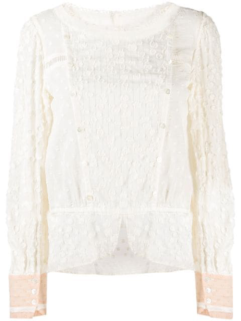 Tsumori Chisato Embroidered Long-sleeved Blouse In Neutrals