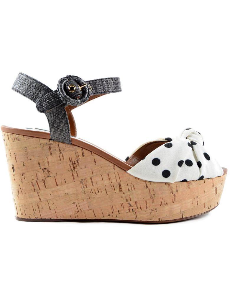Dolce & Gabbana Polka Dot Wedge Sandals In White