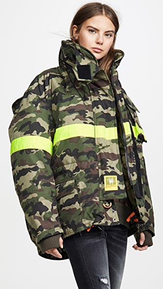 Brumal Fireman Down Jacket With Reflective Tape In Camo