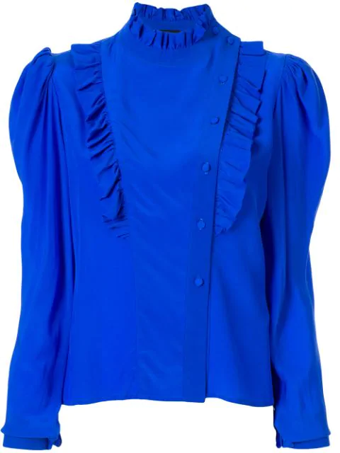 Anna October Magenta Ruffle-Trimmed Blouse In Blue