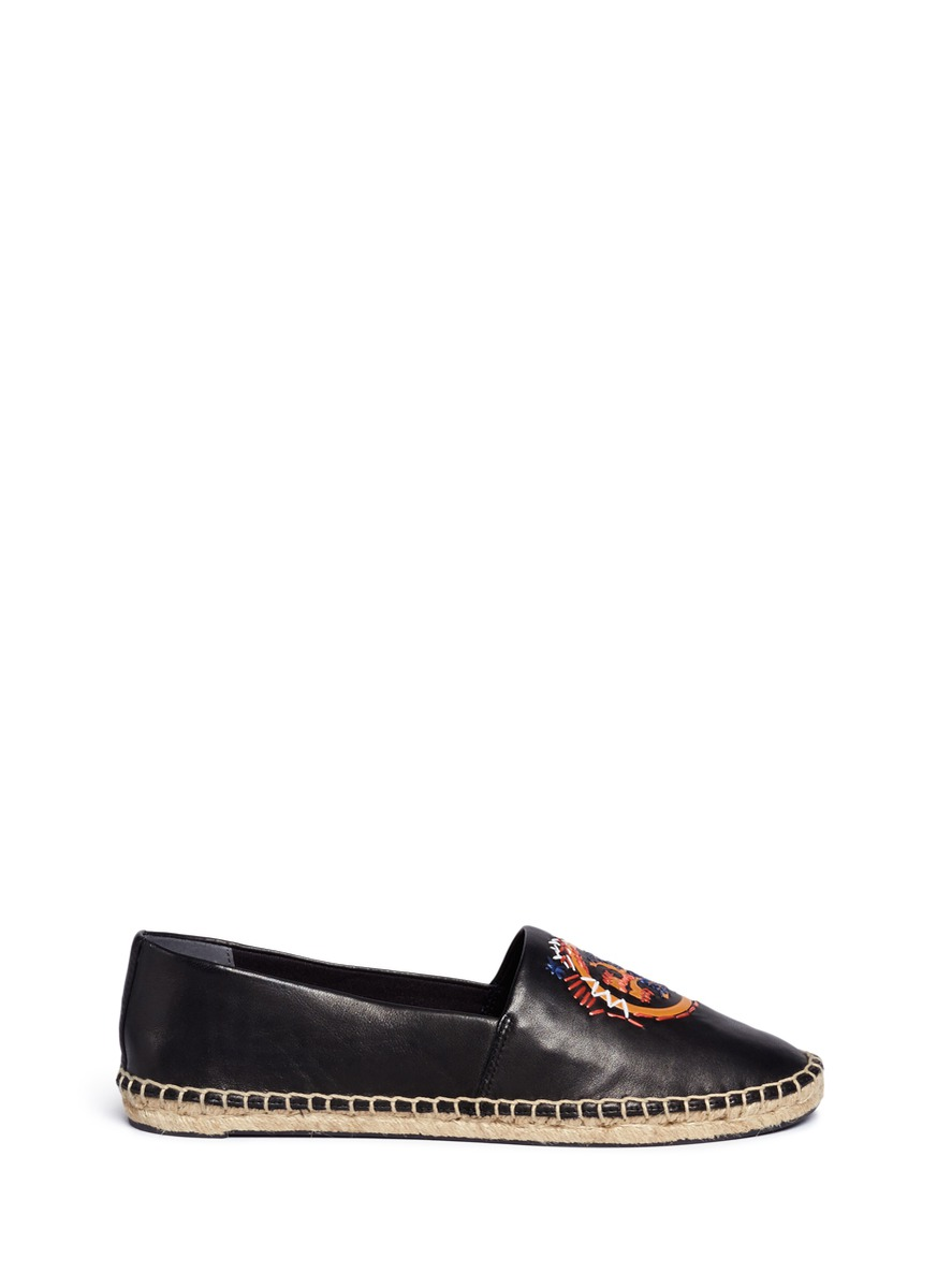 Tory Burch 'daley' Ethnic Logo Stitched Leather Espadrilles In Black