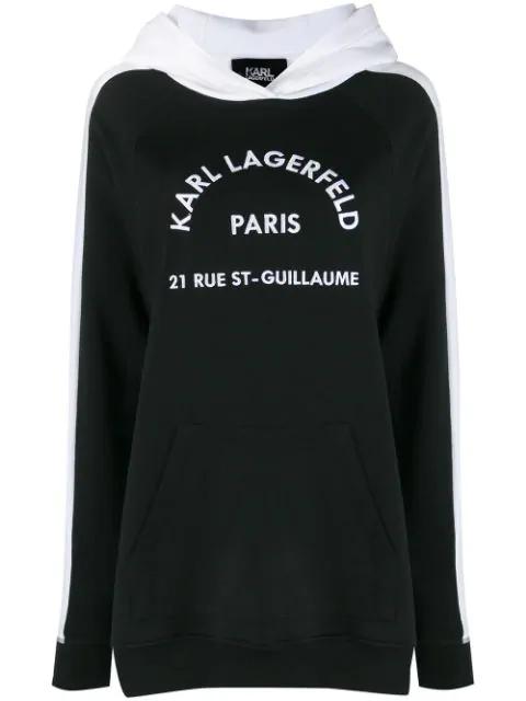 Karl Lagerfeld Contrast Panel Logo Hoodie In Black