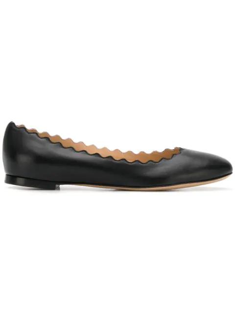 ChloÉ Lauren Scalloped Leather Ballet Flats In Nr001 Black