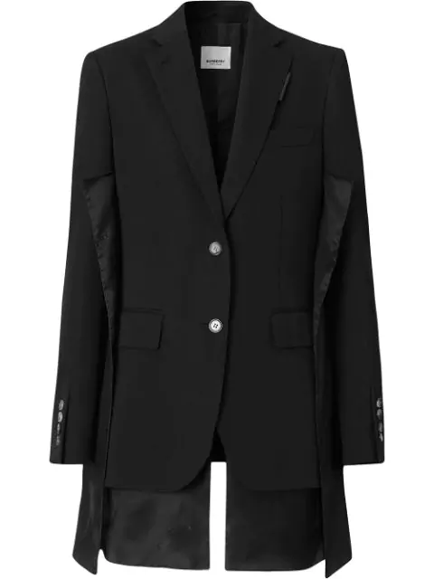 Burberry Logo Panel Detail Wool Tailored Jacket In Black