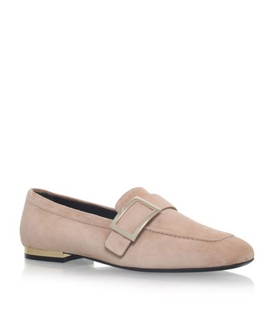 Roger Vivier Metal Buckle Suede Loafers In Beige