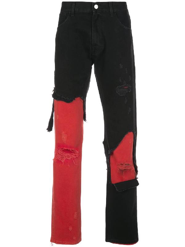 Raf Simons Opening Ceremony Slim Fit Destroyed Denim Pants In 09930 Black-Red