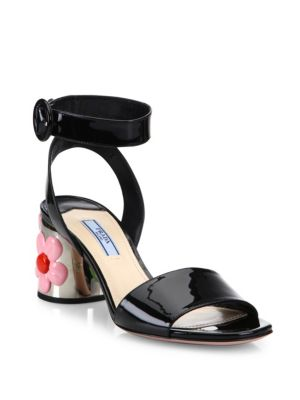 Prada Flower-heel Patent Leather Ankle-strap Sandals In Black