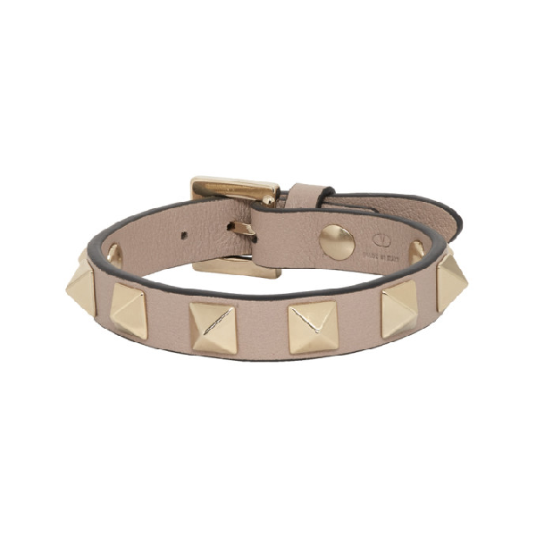 Valentino Garavani 'rockstud' Calfskin Leather Bracelet In P45 Poudre