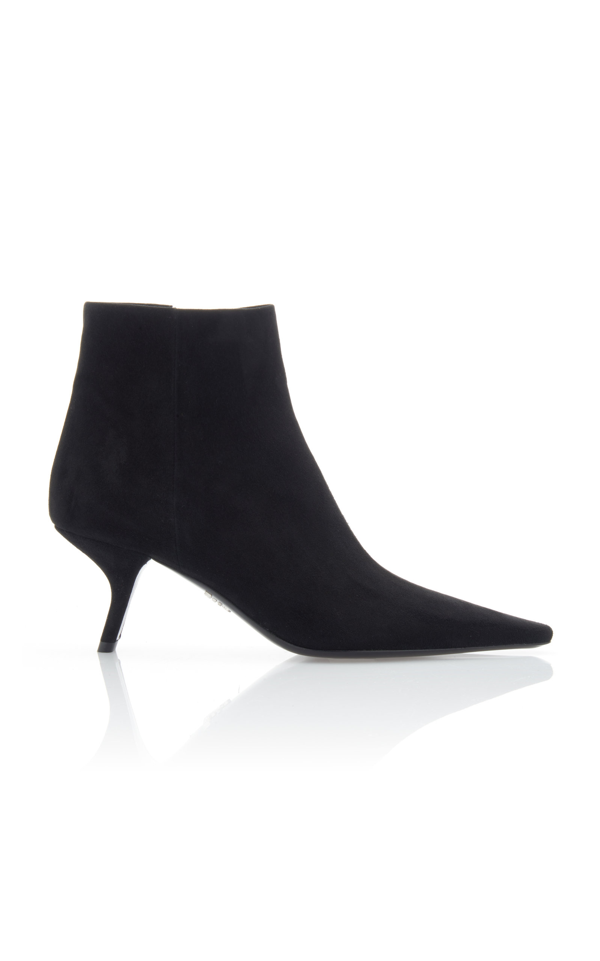 Prada Women's Suede Ankle Boots In Black