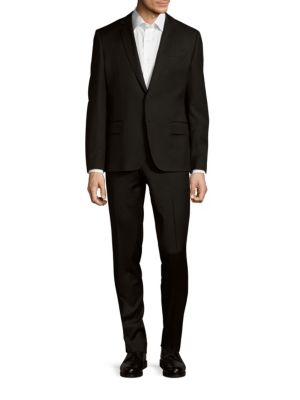 Pierre Balmain Classic-fit Two-button Wool-blend Suit In Black