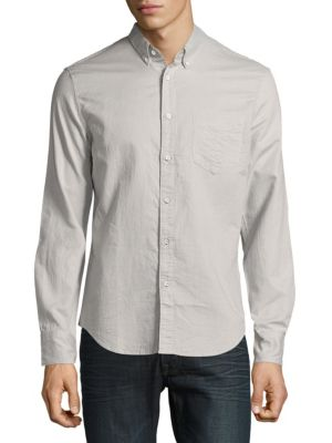 Rag & Bone Chambray Cotton Shirt In Grey Check