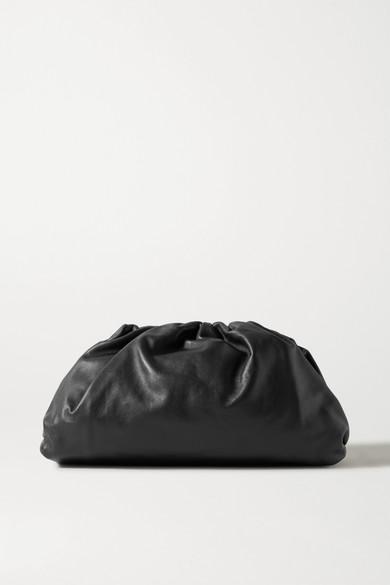 Bottega Veneta The Pouch Small Gathered Leather Clutch In Black