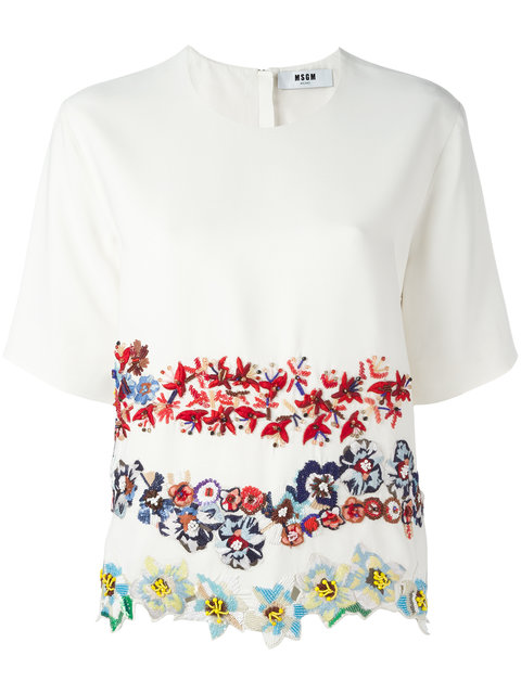 Msgm Embroidered Flower T-shirt - White