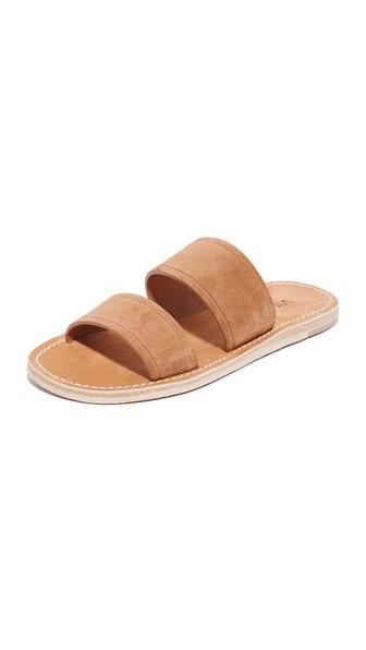 Vince Women's Travis Suede Flat Slide Sandals In Cedar