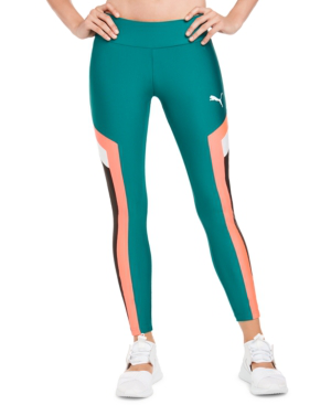 Puma Chase High-Rise Color-Block Leggings In Teal Green