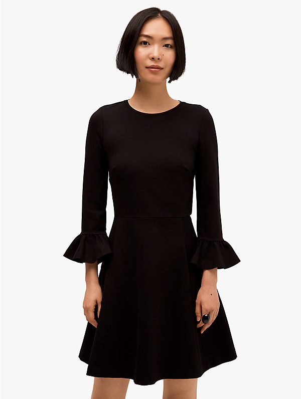 Kate Spade Bell Sleeve Ponte Fit & Flare Dress In Black