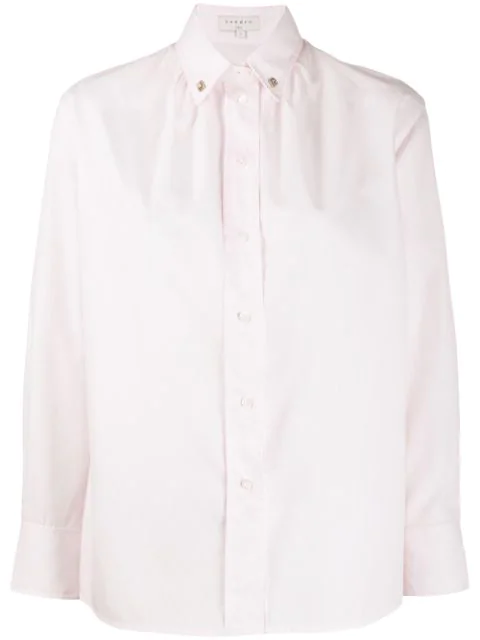 Sandro Pollie Studded-Collar Shirt In Pink