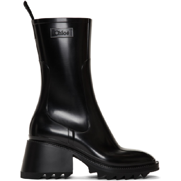 ChloÉ Women's Betty Block-heel Platform Rain Boots In 001 Black