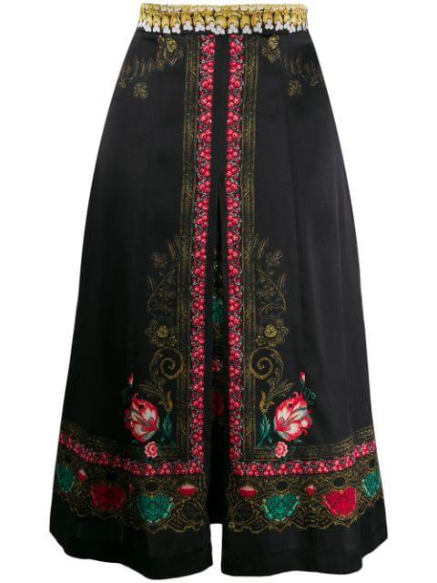 Etro Floral Print Skirt In Black
