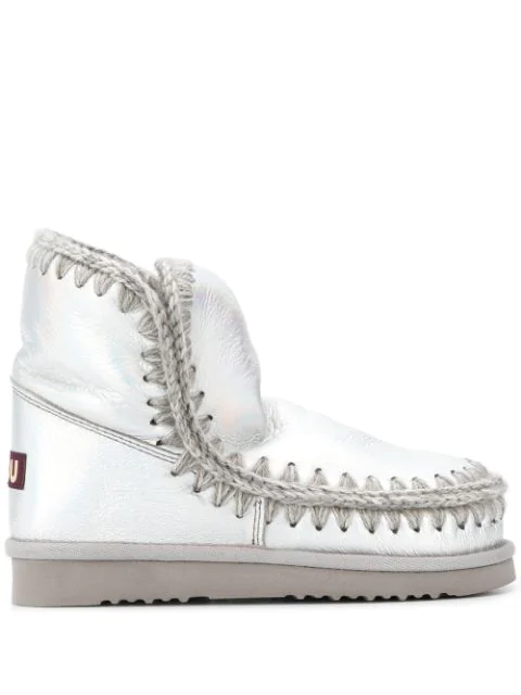 Mou Woven Detail Boots In Silver