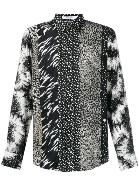 Givenchy Printed Triple Patchwork Silk Shirt In Black