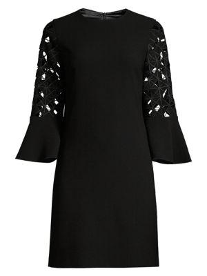 Elie Tahari Esmarella Lace Eyelet Bell-sleeve Shift Dress In Black