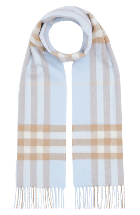 Burberry Womens Pale Blue /arc Beige Giant Check Cashmere Scarf In Pale Blue/ Arc Beige
