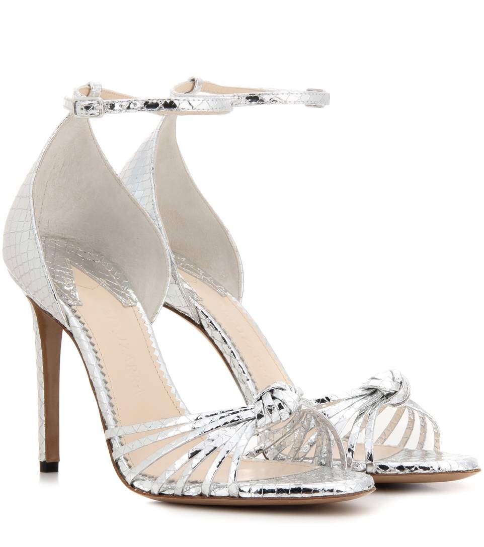 Altuzarra Parker Snake-effect Mirrored-leather Sandals In Silver