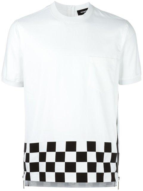 Dsquared2 Checkered Side Zip T-shirt In White