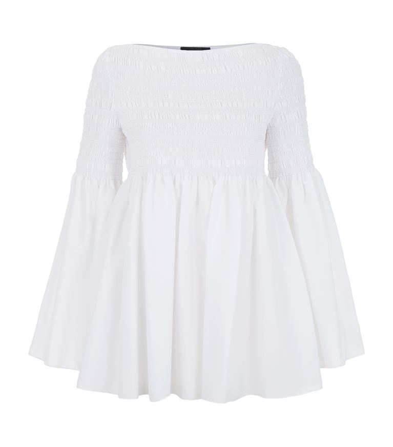The Row Burton Smocked Cotton-blend Poplin Top In White