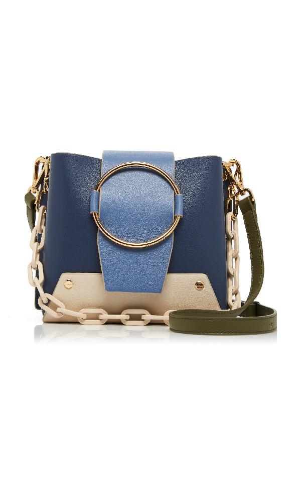 Yuzefi Delila Color-Block Textured Leather Shoulder Bag In Blue