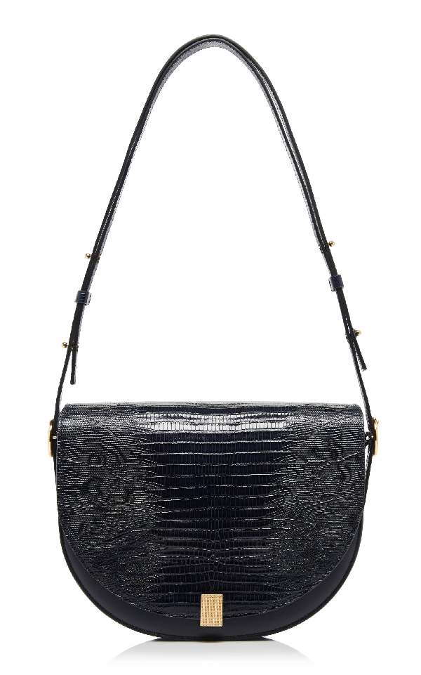 Victoria Beckham Tejus Lizard-Effect Leather Shoulder Bag In Navy