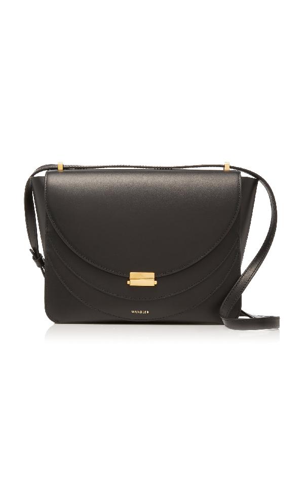 Wandler Luna Leather Shoulder Bag In Black