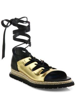 Sacai Metallic Leather Espadrille Sandals In Gold