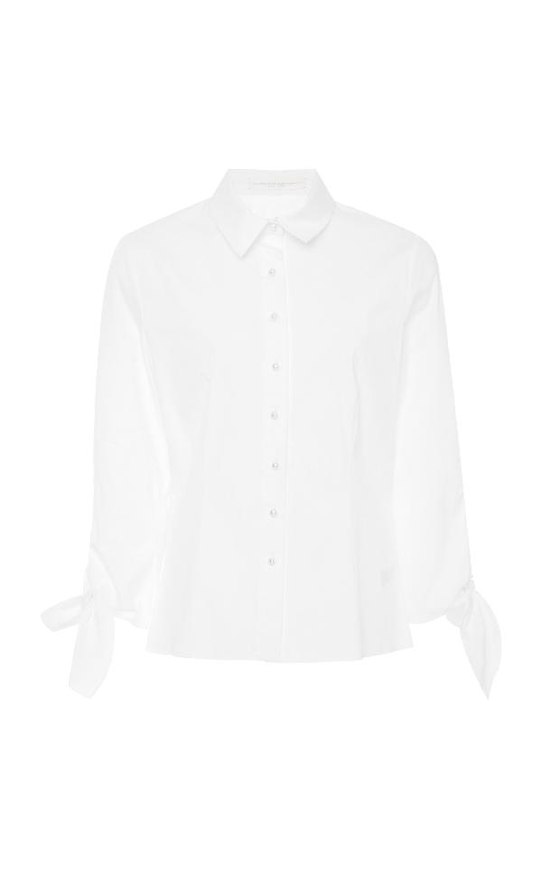 Carolina Herrera Halstead Cotton-Blend Top In White