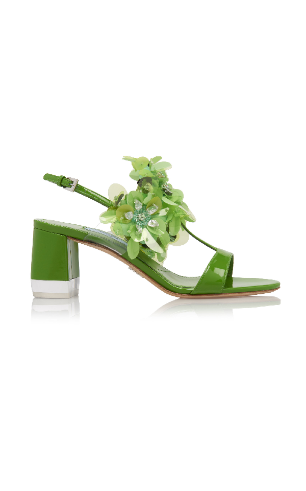 Prada Floral-AppliquÉD Patent-Leather Sandals In Green