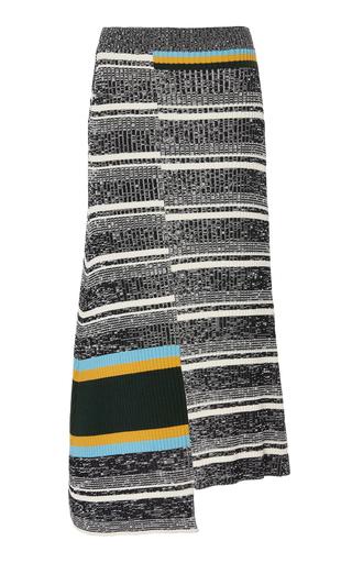 Victoria Beckham Asymmetric Ribbed Striped Cotton-Blend Midi Skirt Siz