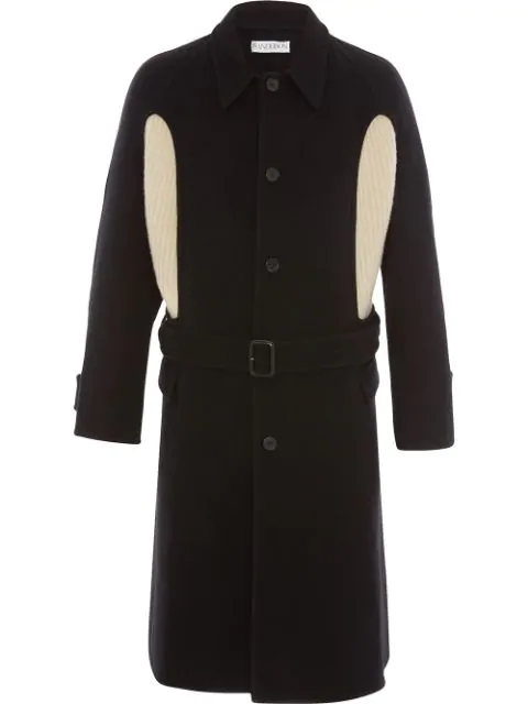 Jw Anderson Belted Cashmere-Paneled Wool-Crepe Coat In Black