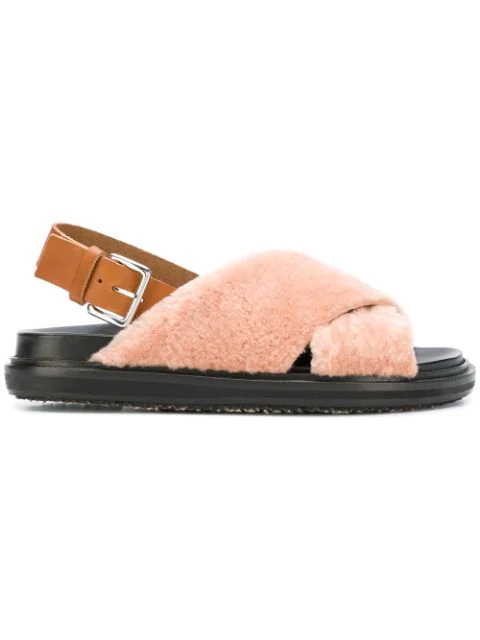 Marni Fussbett Shearling And Leather Slingback Sandals In Roc27 Dusty Rose