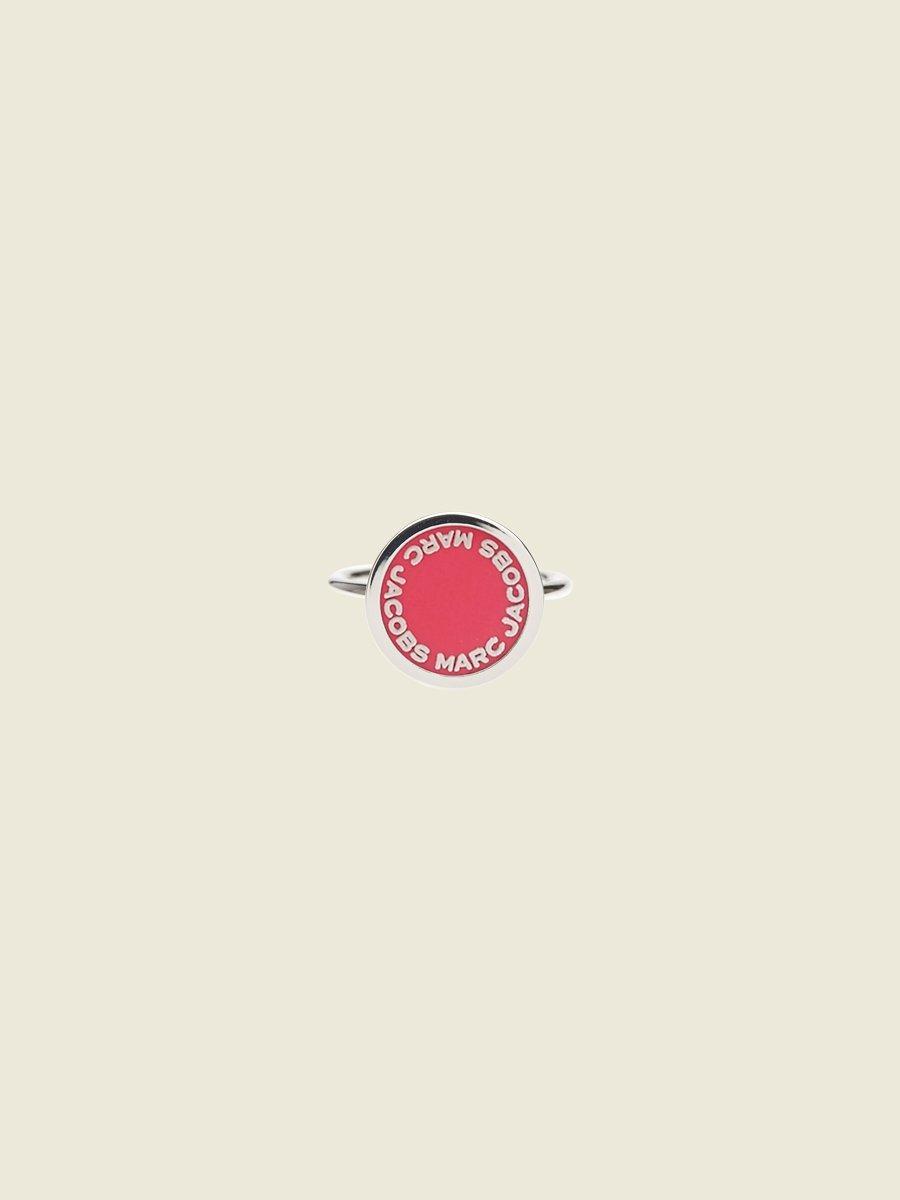 Marc Jacobs Enamel Logo Disc Ring In Pink