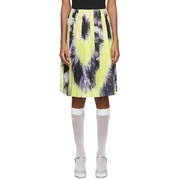 Prada Tie-dye Pleated Silk-satin Skirt In Black