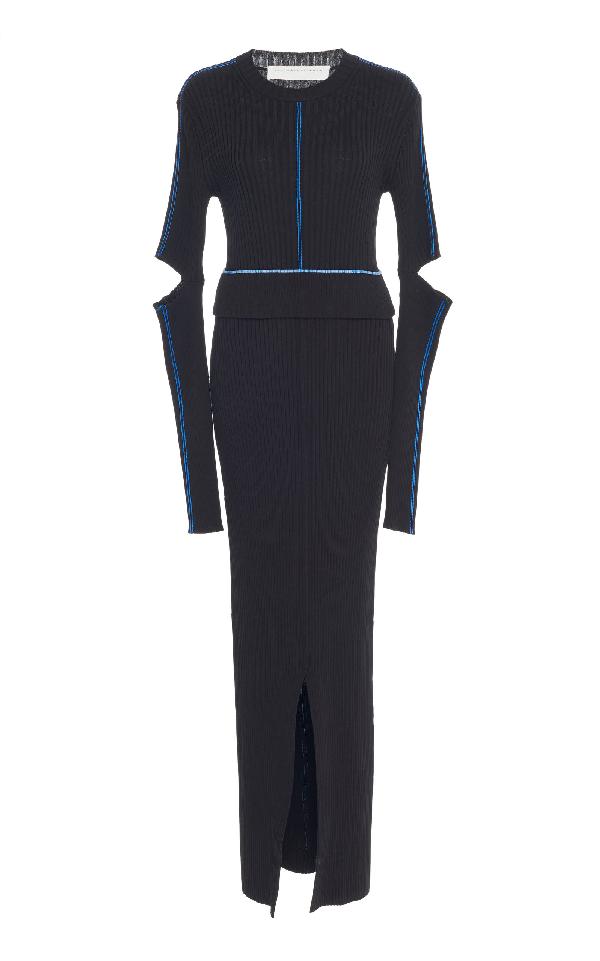 Victoria Beckham Split Cotton-blend Maxi Dress In Black