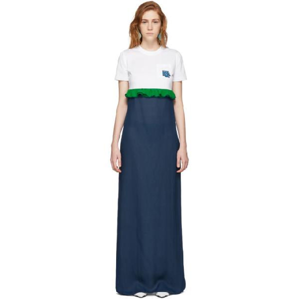 Prada White & Blue Chiffon Long T-shirt Dress In Blue ,white