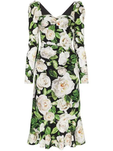 Dolce & Gabbana Ruched Floral-print Stretch-crepe Midi Dress In Hn09c Rose Bianche F.nero