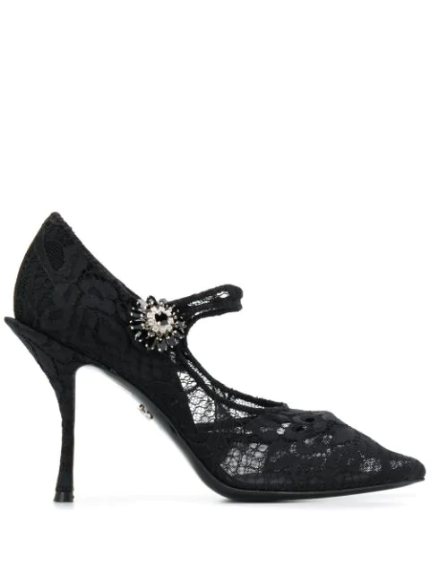 Dolce & Gabbana Embellished Lace Mary Jane Pumps In 80999  Nero
