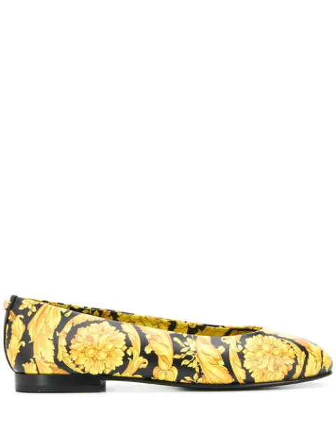 Versace Baroque Print Ballerina Shoes In Yellow