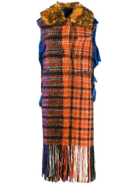 Marni Sleeveless Plaid Fringe Coat In Orange